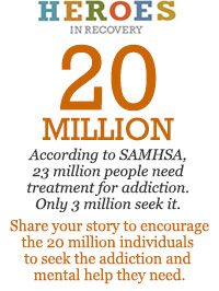 According to SAMHSA, 23 million people need treatment for addiction... Only 3 million seek it. Share your story to encourage the other 20 million to seek treatment.