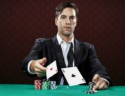Gambler tossing cards